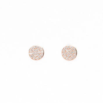 Sterling silver, rose gold plated disc stud earring with micro-pave clear cz stones