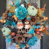 Fall Wreath, Autumn Wreath, Door Hanger, Front door Wreath, Wreath for Door, Fall Decoration, Chocolate and Turquoise, Ready To Ship