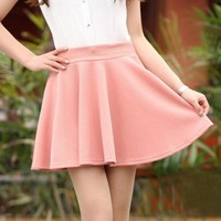 NEEWER® High Waist Plain Pleated Flared Mini Skater Skirt (Pink)
