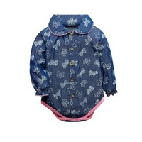 Spring Baby Bodysuits Newborn Baby Jeans Clothes Long Sleeve Stand Collar Jumpsuit Cute Big Bow Print Baby Girls And Boys Ropa