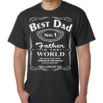 Best Dad No. 1 Father In The World - Whiskey Label T-Shirt