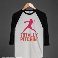 Totally Pitchin' (Baseball Tee)-Unisex White/Black T-Shirt