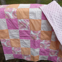 Sale - Handmade Pink Floral and Dots Patchwork Crib Quilt with Pink Minky Backer - Modern Crib Quilt