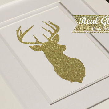 Glitter Paper Cut Art - Deer With Frame (Optional) - Glitter Art, Gallery Wall, Framed Art, Framed Gallery Wall, Dorm Decor, Studio Wall Art