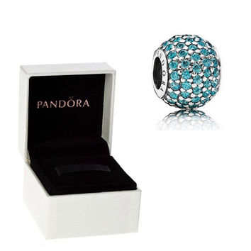 Authentic Pandora S925 Sterling Silver Blue Teal Pave Lights Charm Bead w/ Box Free Shipping Worldwide Gift Bridal Weddings Brides Jewelry