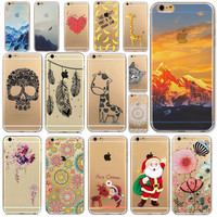 Free Shipping Phone Case For iPhone 6 6s Transparent Soft Ultra Thin Back Cover Painted Fruit Snow Mountain