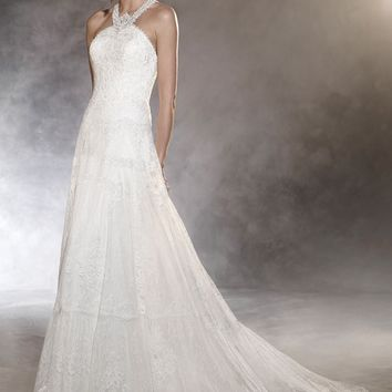 Pronovias Ospel Halter Lace Gown (In Stores Only) | Nordstrom