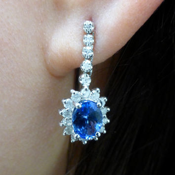 Tanzanite and Diamond Earrings, 14k Solid White Gold