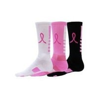 Red Lion Ribbon Legend Crew Breast Cancer Awareness Socks 3 Pair Pack