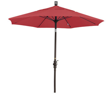 7 1/2 Foot Sunbrella 1A Fabric Fiberglass Rib Crank Lift Collar Tilt Aluminum Patio Umbrella with Bronze Pole