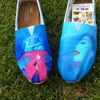 "Pocahontas ""Colors of the Wind"" Original Custom Acrylic Painting for Toms Shoes"