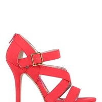 Open Toe Platform Pump with Strappy Upper