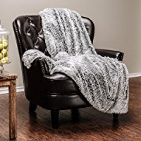 "Chanasya Super Soft Faux Fur Warm Elegant Cozy With Fluffy Sherpa Solid Color Sofa Couch Bed Light Gray Silver Microfiber Throw Blanket (50"" x 65"")"