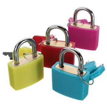 2.3cm x 3.4cm Brass 20mm Travel Luggage Suitcase Laptop Bag Padlock Lock With Two Keys Kit Set 4 Colors