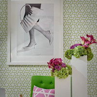 Self adhesive vinyl temporary removable wallpaper, wall decal - Geometric Hex  print  - 029