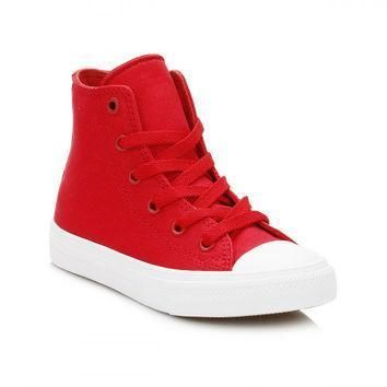converse all star chuck taylor ii junior salsa red white hi trainers