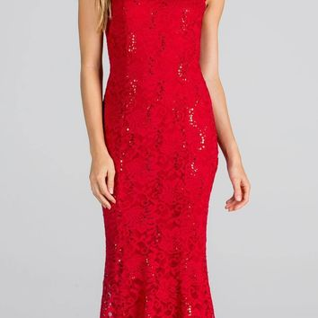 Red Cap Sleeves Fit and Flare Long Formal Dress Lace Cut Out Back