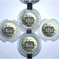A240 - Retro Blue and Green Monogram Stethoscope Tag
