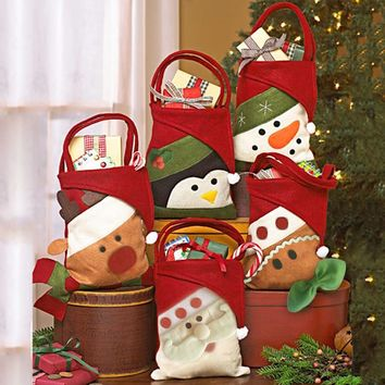 Cute Christmas Gift Bags Candy Bag Santa Claus Snowman Elk Classic Design Christmas Tree Hangings Kid's Xmas Gift Candy Bags
