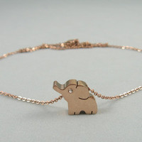 Elephant anklet in rose gold,16k gold plated anklet,birthday gift,girlfriend gift,friendship gift