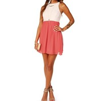 IvoryCoral Sleeveless Lace Colorblock Dress