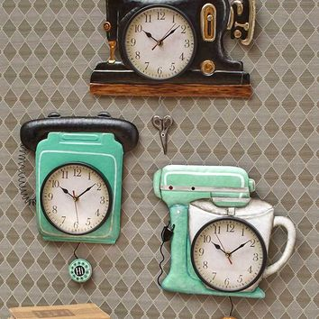 Vintage Retro Pendulum Wall Clock Nostalgic Sewing Machine Phone or Stand Mixer