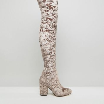 ASOS | ASOS KATCH UP Velvet Heeled Over The Knee Boots at ASOS