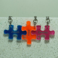 Personalized Friendship Puzzle Pieces 2-6 piece set Linking pendants or Key chains Small Acrylic pieces