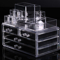 Cosmetic organizer makeup drawers Display Box Acrylic Clear Cabinet Case Set