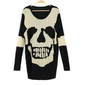 Skull Print Long Sleeves Retro Style Color Block Acrylic Scoop Neck Womens Sweater