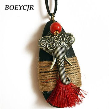 BOEYCJR Lovely Alloy Elephant Necklace Chain Handmade Ethnic Waterdrop Wood Long Tassel Pendant Necklace for Women Gift