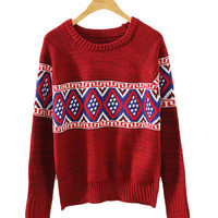 Red Tribal Print Knit Sweater