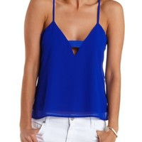 Blue Cut-Out Swing Tank Top by Charlotte Russe