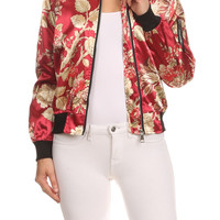 Floral Print Long Sleeve Relaxed Fit Zip-Up Bomber Jacket JAS072