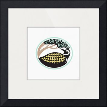 """""""Golden Plover Looking Up Tree Oval Tribal Art"""" by Aloysius Patrimonio"""