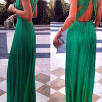 Green Backless Maxi Dress
