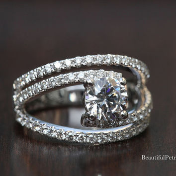 Diamond Engagement Ring - weddings - brides - Luxury -Swirly - unique - twist - Abstract - 14K - Bp034