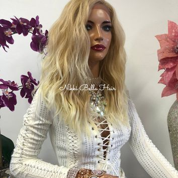 Blond Balayage Swiss Lace Front Wig 14 Inches   Deep Lace Parting   Volume Wave Layered Hair   Ella 1018 44