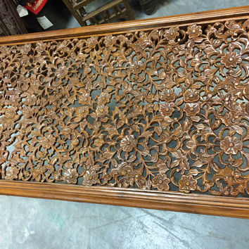 Antique Coffee Table Floral Lattice Hand Carving Teak Wood Table Furniture
