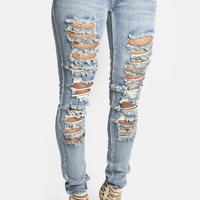 Acid Wash Ripped Skinny Jeans