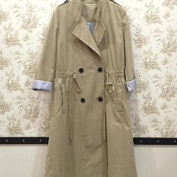 Military style trench coats with elastic waist khaki