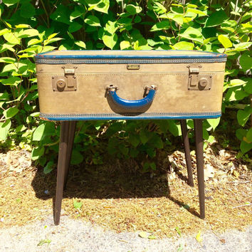 Vintage repurposed upcycled luggage side end table blue brass tan