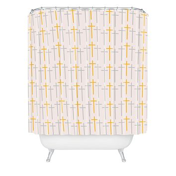 Allyson Johnson Yellow Cross Shower Curtain