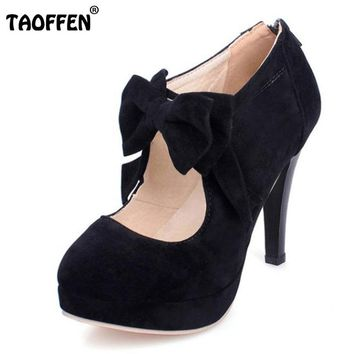 TAOFFEN size 30-47 fashion vintage woman small bowtie platform pumps,ladys sexy high heeled shoes for women footwear PA00150