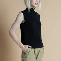 Vintage 90s Stretchy Basic Black Sleeveless Turtleneck Top | M/L