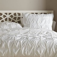 Organic Pintuck Duvet Cover, Twin, White