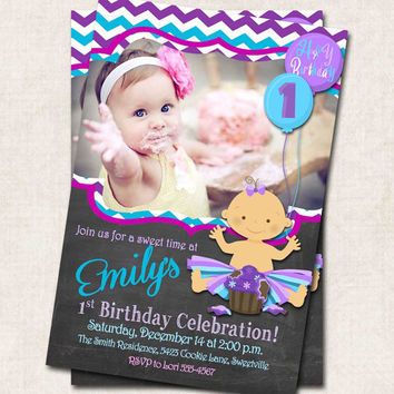 Chalkboard 1st Birthday Party Invitation, purple blue, cupcake, chevron, digital file, you-print