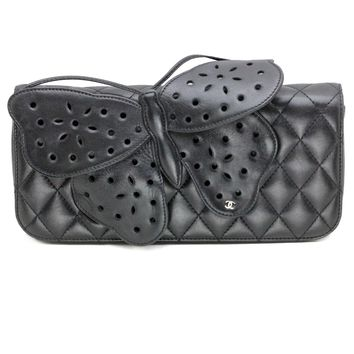 Chanel Butterfly Clutch Bag in Black Lambskin Leather with Silver Hardware
