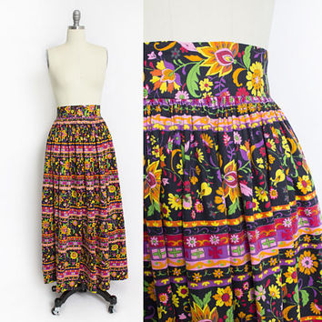 Vintage 1970s Maxi Skirt - Polished Cotton Ethnic Printed Full Length Boho - Medium