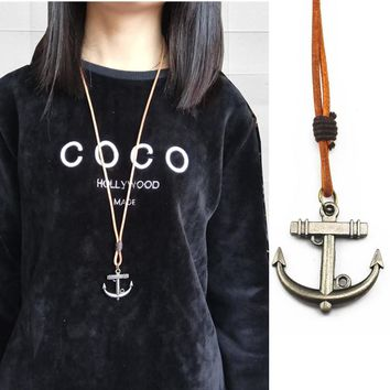 New Arrival Women Punk Retro Anchor Pendants Necklace Men Beach Jewelry